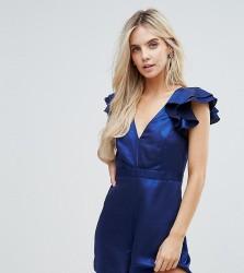 Miss Selfridge Petite Ruffle Sleeve Playsuit - Blue