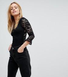 Miss Selfridge Petite Ruffle Sleeved Lace Body - Black