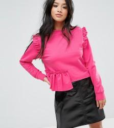 Miss Selfridge Petite Ruffle Sweat - Pink