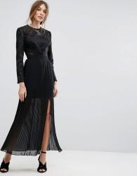 Miss Selfridge Premium Embroidered Pleated Maxi Dress - Black