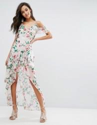 Miss Selfridge Printed Ruffle Maxi Dress - Multi