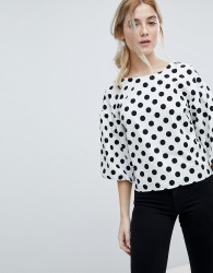 Miss Selfridge Puff Sleeve Polka Dot Top - Multi