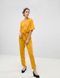 Miss Selfridge Tie Front Jumpsuit - Yellow