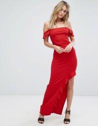 Missguided Bardot Frill Detail Maxi Dress - Red