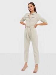Missguided Belted Button Denim Boilersuit Jumpsuits
