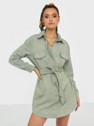 Missguided Belted Oversized Denim Dress Langærmede kjoler