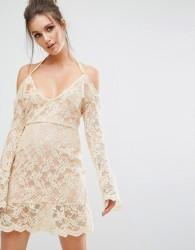 Missguided Cold Shoulder Lace Overlay Dress - Beige