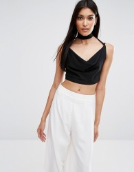 Missguided Cowl Tab Neck Crop Top - Black