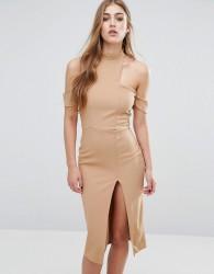 Missguided Cut Out Choker Midi Dress - Tan