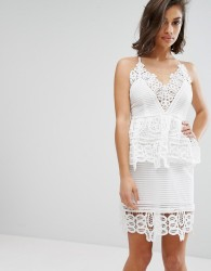 Missguided Cutwork Lace Double Layer Dress - White