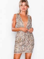 Missguided Embellished Plunge Mini Dress Pailletkjoler Nude