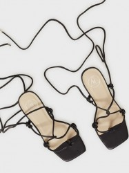 Missguided Extreme Square Strappy Mid Heel Lace Up