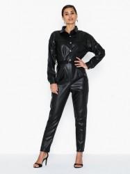 Missguided Faux Leather Button Down Jumpsuit Jumpsuits