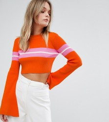 Missguided Flare Sleeve Stripe Cropped Jumper - Multi