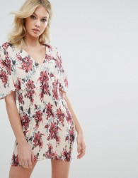 Missguided Floral Pleated Shift Dress - Cream