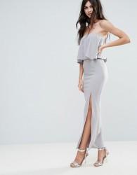 Missguided Grey Crepe Frill Side Split Maxi Dress - Grey