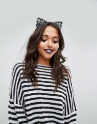 Missguided Halloween Lace Cat Headband - Black