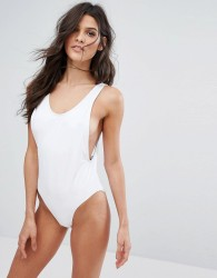 Missguided High Leg Swimsuit - White