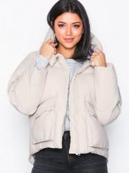 Missguided Hooded Padded Jacket Dunjakker Oyster