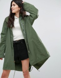Missguided Khaki Sequin Back Oversized Parka - Green