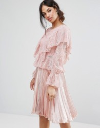 Missguided Lace Frill Blouse - Pink