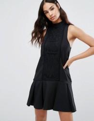 Missguided Lace Panel Drop Hem Dress - Black