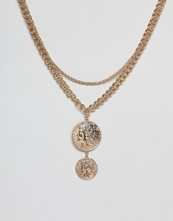 Missguided layered coin necklace in gold - Gold