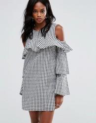 Missguided Layered Frill Gingham Cold Shoulder Dress - Black