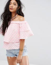 Missguided Off The Shoulder Gingham Ruffle Top - Pink