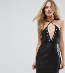 Missguided Pearl Chain Detail Bandage Body - Black