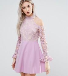 Missguided Petite Cold Shoulder Lace Skater Dress - Purple