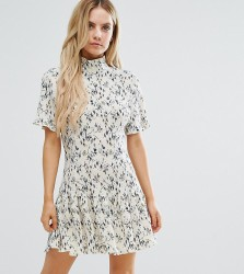 Missguided Petite Plisse High Neck Floral Shift Dress - Multi