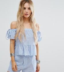 Missguided Petite Stripe Bardot Top - Blue