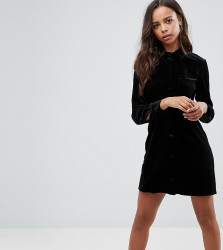 Missguided Petite Velvet Shirt Dress - Black