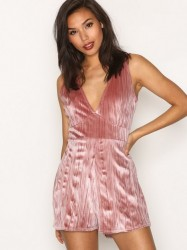 Missguided Pleated Velour Plunge Playsuit Playsuits Rose