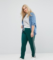 Missguided Plus Contrast Waistband Joggers With Side Stripe - Green