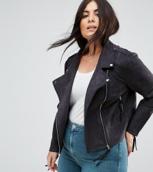 Missguided Plus Faux Suede Biker Jacket - Black