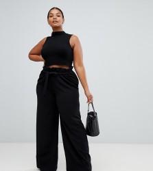 Missguided Plus paper bag waist wide leg trousers in black - Black