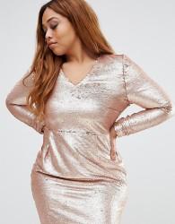 Missguided Plus Sequin Mini Dress - Gold
