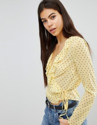 Missguided Polka Dot Tie Side Blouse - Yellow