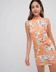 Missguided printed halterneck dress - Orange