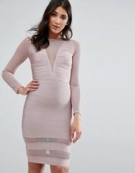 Missguided Purple Long Sleeve Mesh Insert Mini Dress - Pink