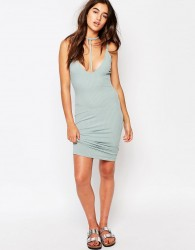Missguided Ribbed Harness Detail Midi Dress - Blue