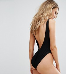 Missguided Ribbed Low Back Swimsuit - Black