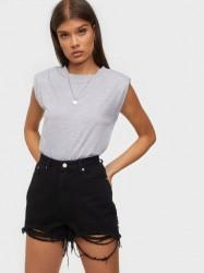 Missguided Rip Hem High Waist Shorts Shorts