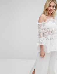 Missguided Ruffle Lace Bardot Top - White