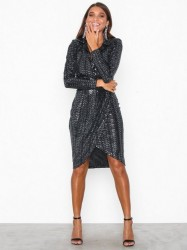 Missguided Sequin Wrap Front Midi Dress Pailletkjoler