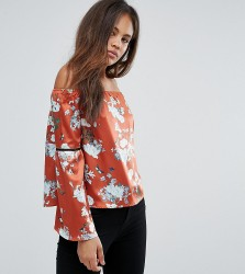Missguided Tall Bardot Floral Print Top - Orange