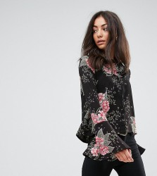 Missguided Tall Floral Print Flare Sleeve Shirt - Black