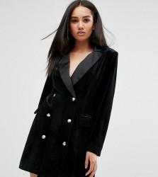 Missguided Velvet Button Detail Blazer Dress - Black